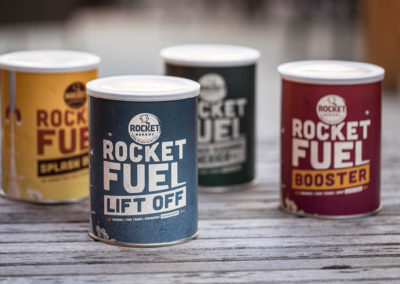 Rocket Bakery Rocket Fuel coffee canisters